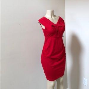 Red ruching dress maternity dress